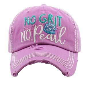 """No Grit No Pearl"" Washed Vintage Style Ball Cap"